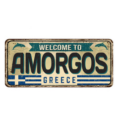 Welcome to amorgos vintage rusty metal sign vector