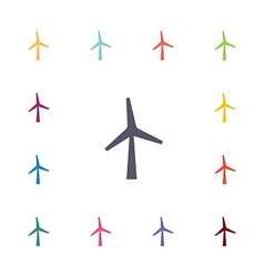 wind mill flat icons set vector image