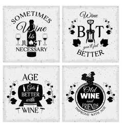 Wine quotes typographic monochrome emblems vector
