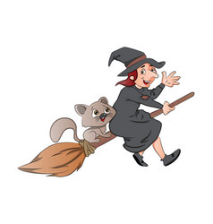 Witch and cat riding on a broomstick vector