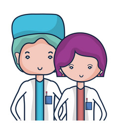 Woman and man doctors with their uniform vector