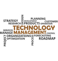 word cloud - technology management vector image