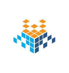 abstract cube rubik technology logo vector image