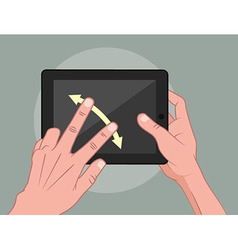 Hands using pad vector