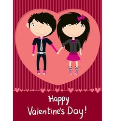 love couple emo boy and girl greeting card vector image