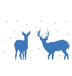 Silhouette of Two deer Christmas vector image