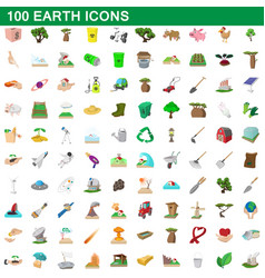 100 earth icons set cartoon style vector image vector image