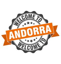 andorra round ribbon seal vector image vector image