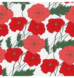 Colorful hand drawn poppies - seamless pattern vector image vector image