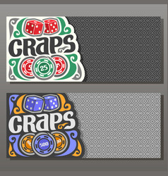 horizontal banners for craps gamble vector image vector image