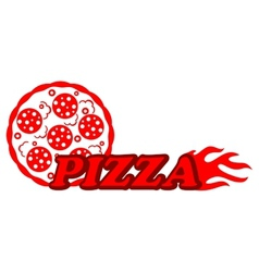 Red hot pizza label vector image vector image