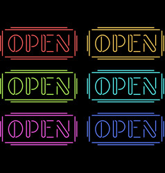 Set of colorful neon Open signs vector image