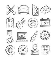 auto service doodle icons vector image vector image