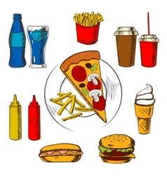 Fast food snacks dessert and beverages vector image vector image