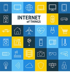 Line art internet of things icons set vector