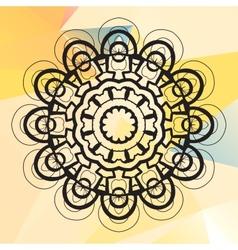 Mandala on triangles background vector image