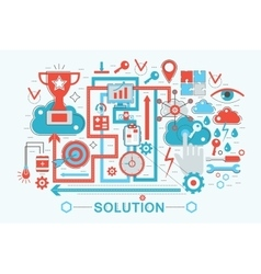 Modern Flat thin Line design Solution and business vector image