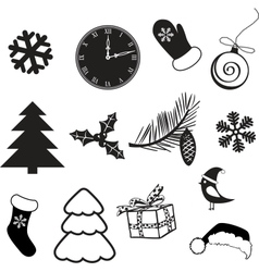 Set of christmas subjects and decorations vector image vector image