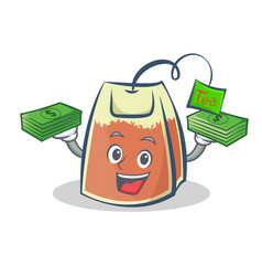 tea bag character cartoon with money vector image vector image
