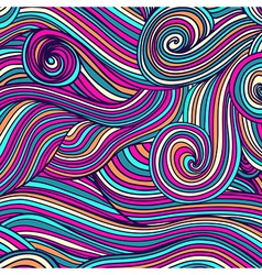 Abstract hand-drawn waves texture wavy background vector image