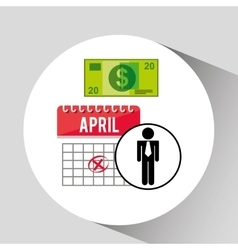 business man planning taxes money icon design vector image