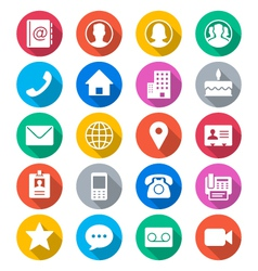 contact flat color icons vector image vector image