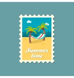 Hammock with palm trees on beach stamp vacation vector