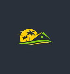 Resort beach house travel logo vector