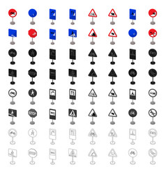 road signs set icons in cartoon style big vector image vector image