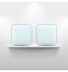 Shelf with glass app icons on white background vector image