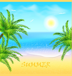 tropical beach with coconut palm and sea sunset vector image vector image