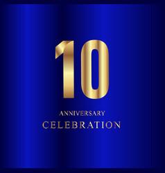 10 year anniversary celebration gold blue vector