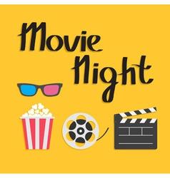 3D glasses Popcorn Movie reel Open clapper board vector image