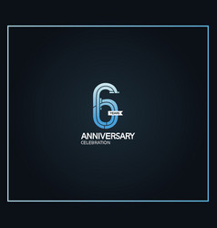 6 years anniversary logotype with cross hatch vector