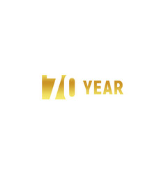 70 year happy birthday gold logo on white vector image