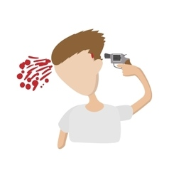 A man commits suicide icon cartoon style vector image