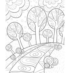 Adult coloring bookpage a cute abstract landscape vector