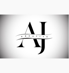 Aj letter logo with serif letter and creative cut vector