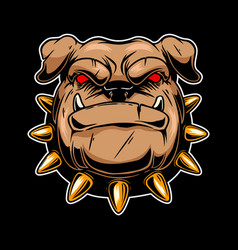Angry bulldog head design element for logo label vector