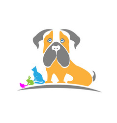 Animal pet clinic dog cat logo design vector