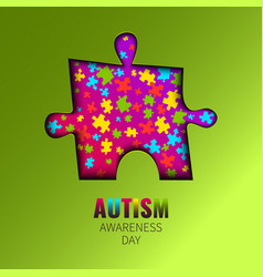 autism awareness cutout poster vector image