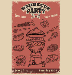 barbecue party invitation template hand drawn bbq vector image