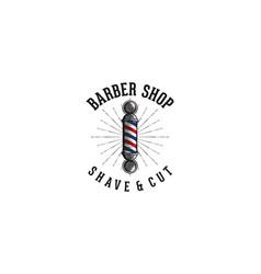 barber pole vintage barber shop logo vector image
