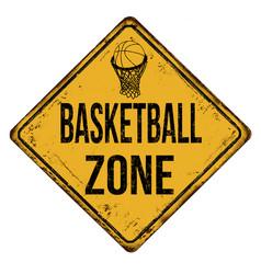basketball zone vintage rusty metal sign vector image