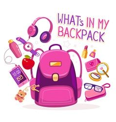 Big pink backpack with many young girls vector