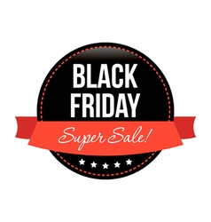 Black friday sale round sticker with red banner vector image