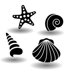 black sea shells icon set collection of seashell vector image