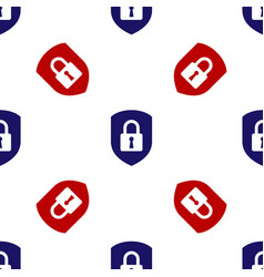 Blue and red shield security with lock icon vector