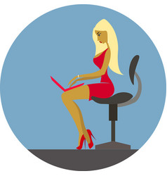 businesswoman in office works on notebook vector image
