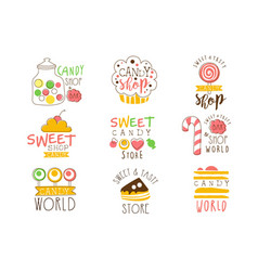 Candy shop promo signs series colorful vector